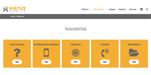Screenshot sito web Kena Mobile area clienti