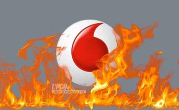 Vodafone logo in fiamme