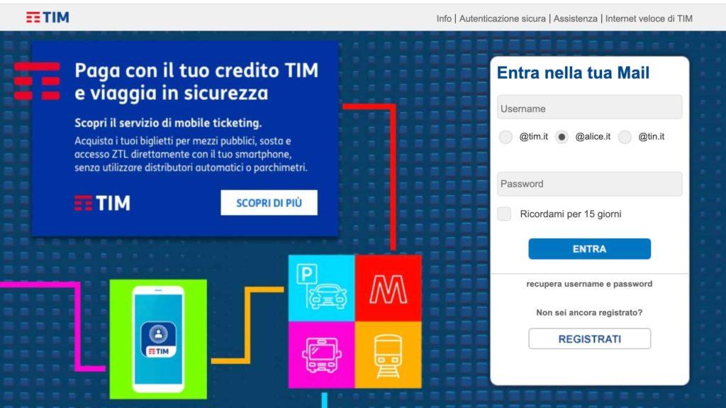 Interfaccia mail di TIM - Alice
